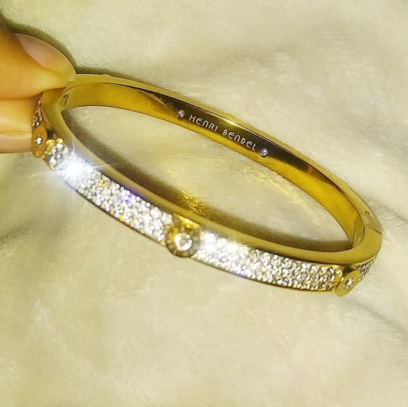 Henri Bendel Jewelry Gold Diamond Miss Bendel Bangle By Poshmark